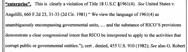 Rico Applies to Government entities.